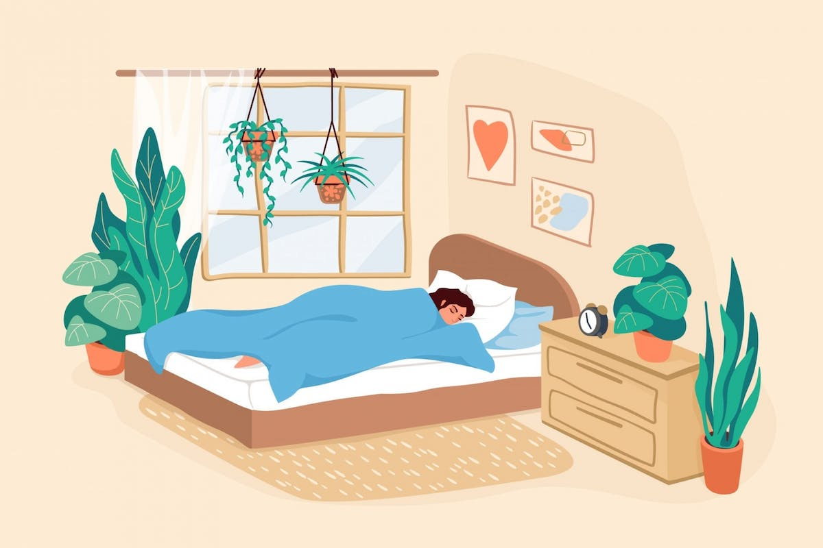 An illustration of a woman sleeping in her bed
