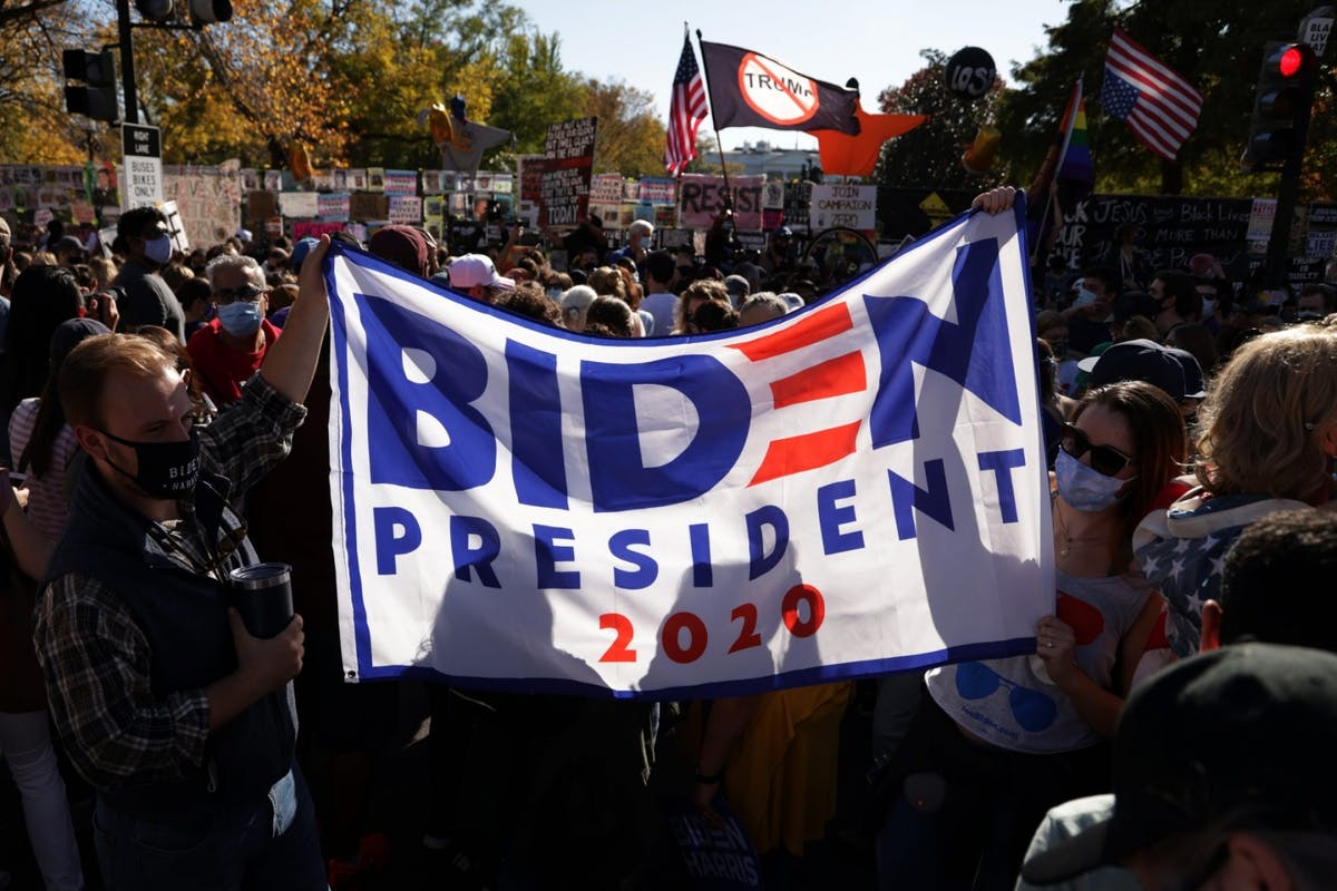 Joe Biden supporters celebrate his victory in the 2020 US election