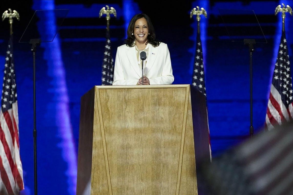 Kamala Harris after winning the US election 2020 with Joe Biden