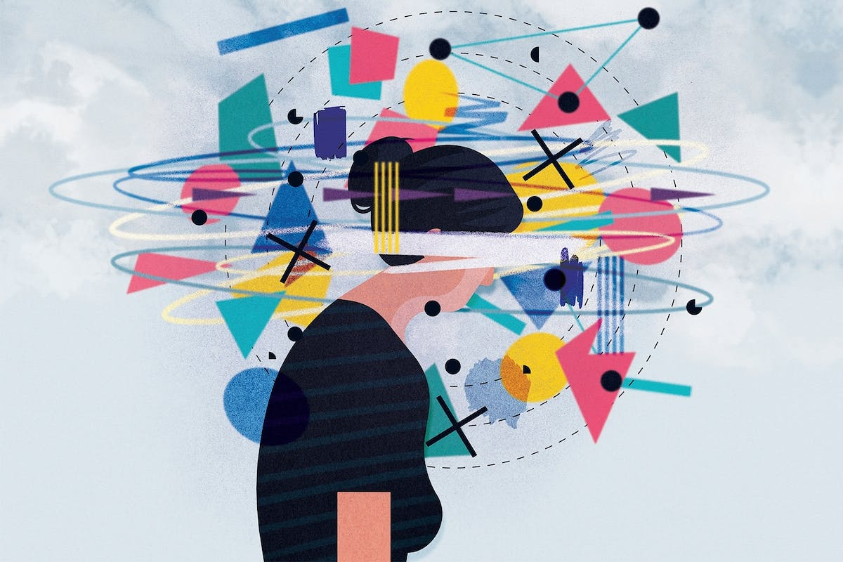 An illustration of a woman with lots of thoughts going on around her head
