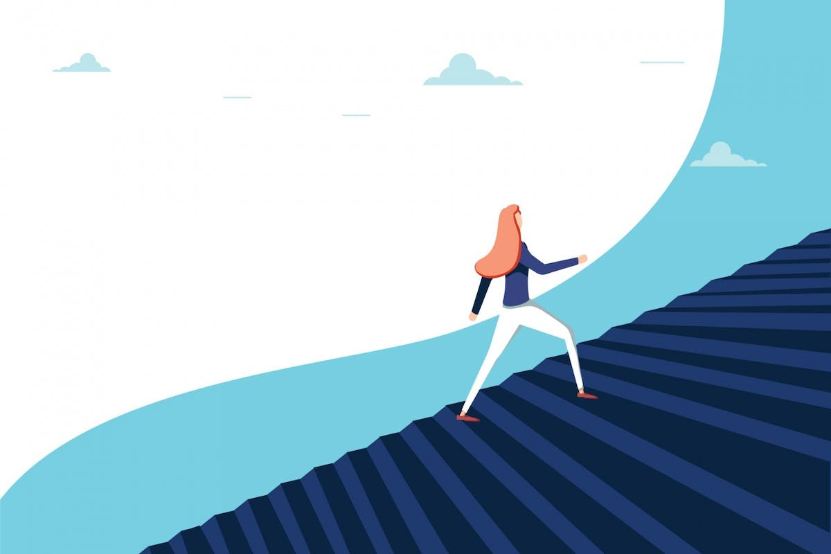 An illustration of a woman climbing stairs to symbolise moving upwards and learning