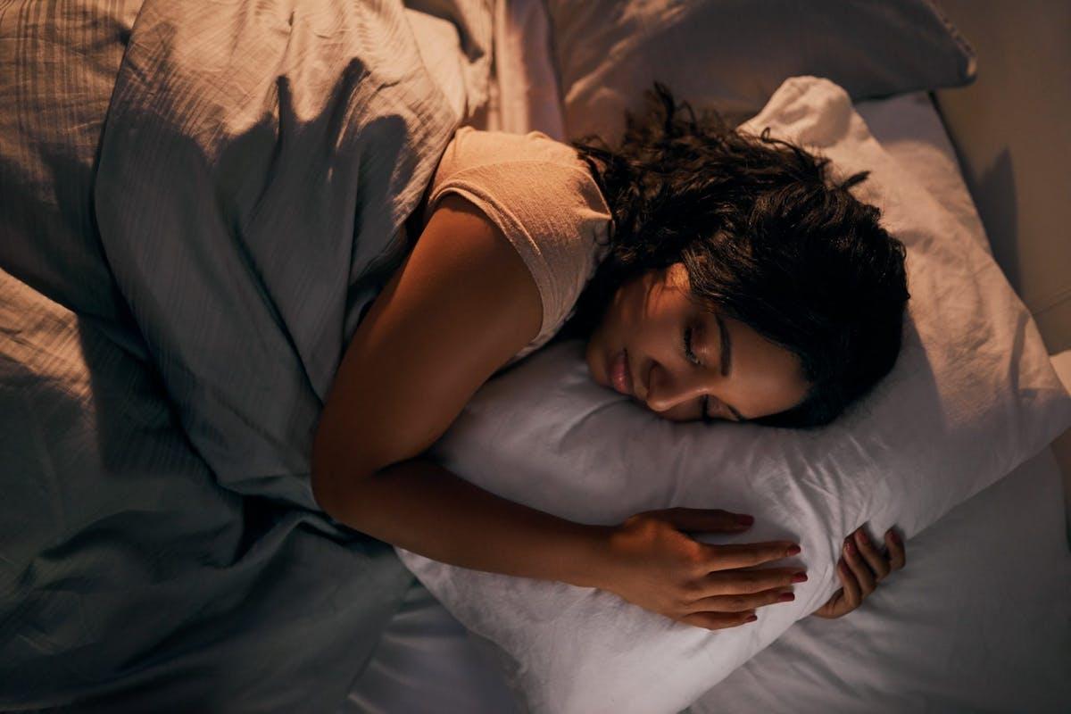 A woman falling asleep