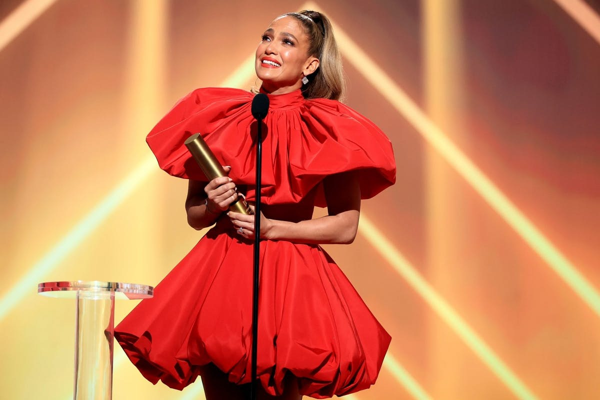 Jennifer Lopez, People's Icon of 2020, accepts the award onstage for the 2020 E! People's Choice Awards