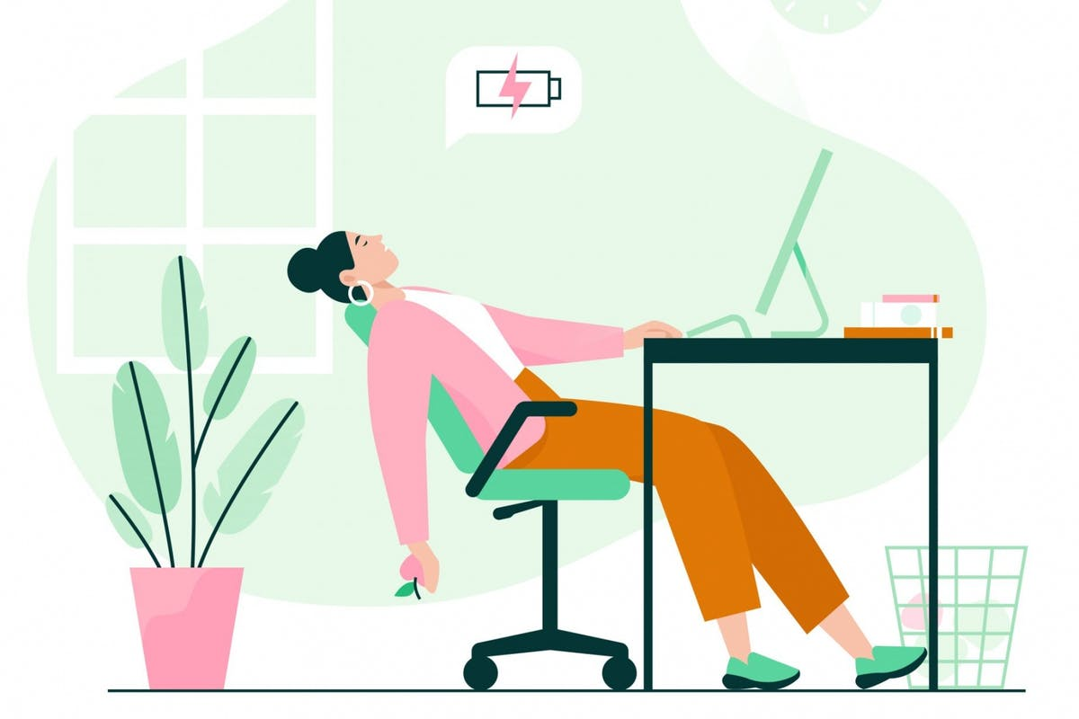 A woman who is stressed working from home