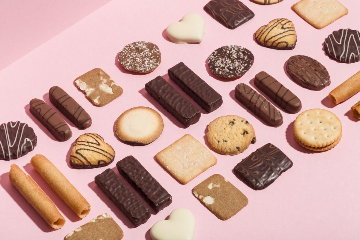 Biscuits on a pink background