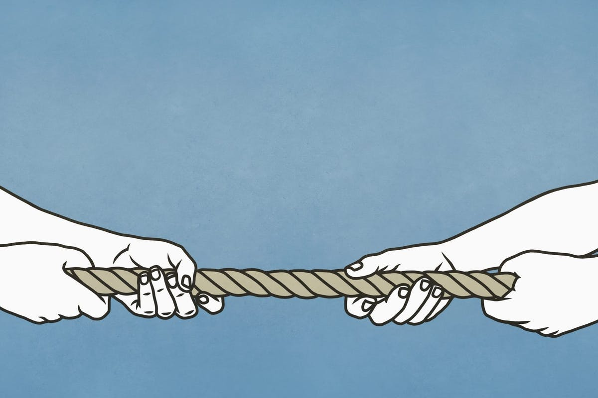 Tug of war with rope