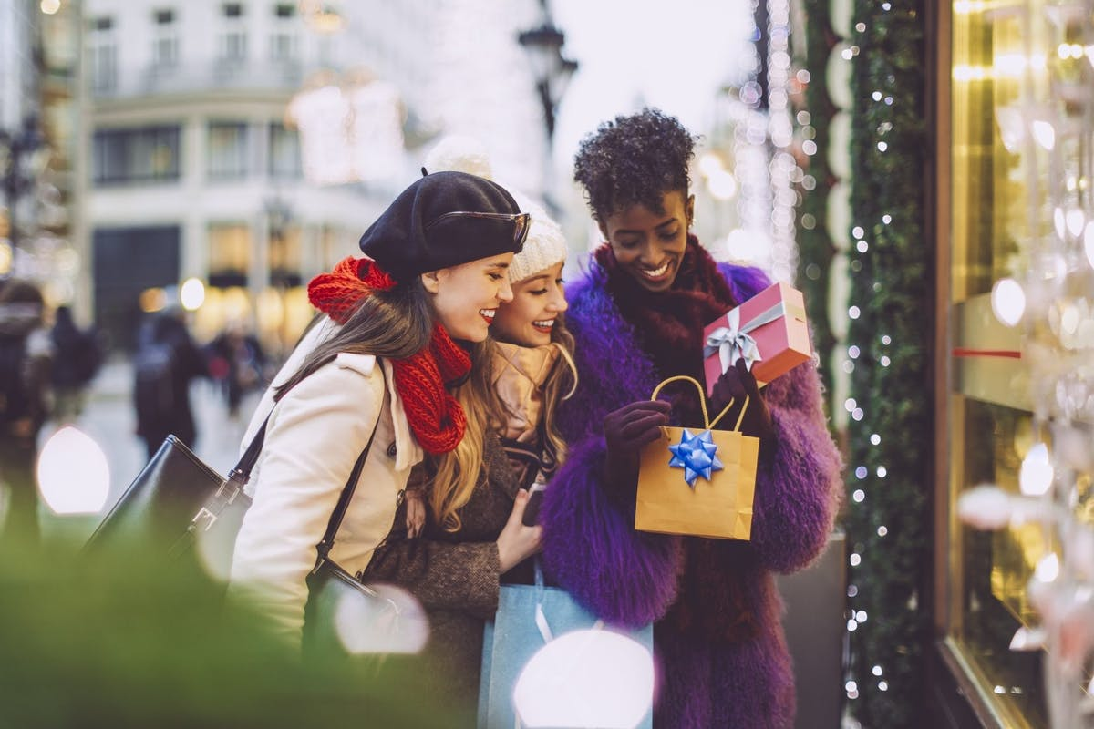Women doing their Christmas shopping