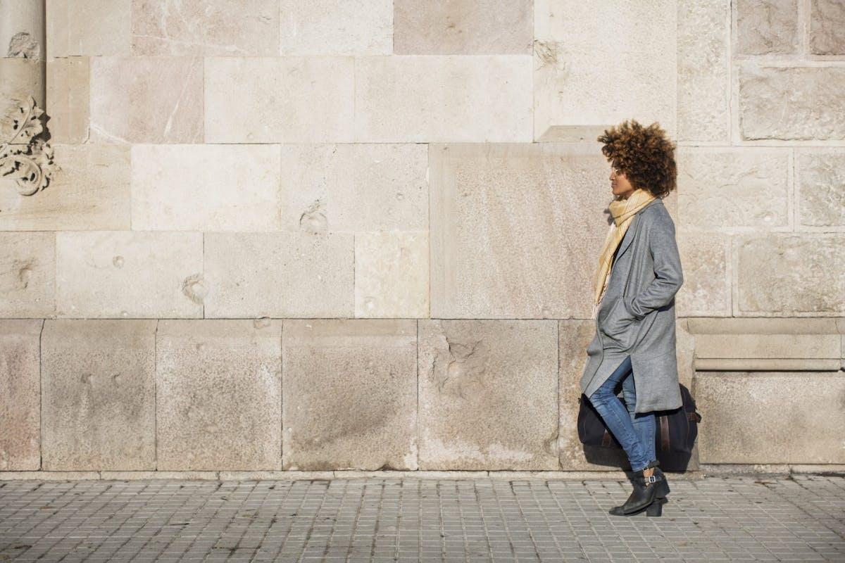 A woman walking before work