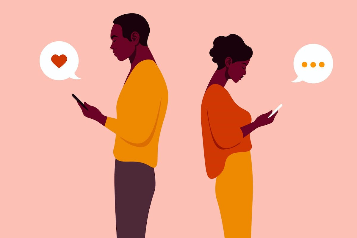 A woman and man are standing in profile and holding a smartphone. Figure of people in a full-length. Vector flat Illustration