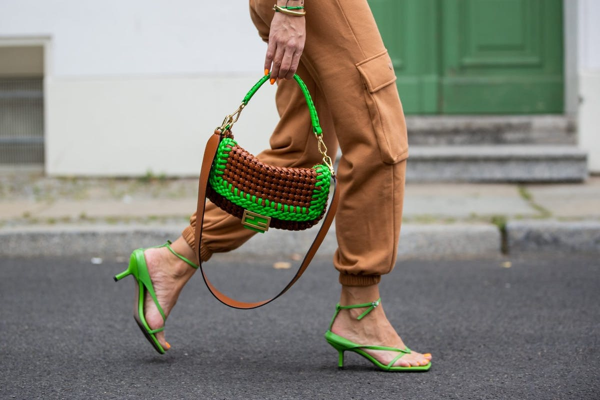 Street style wearing green and brown