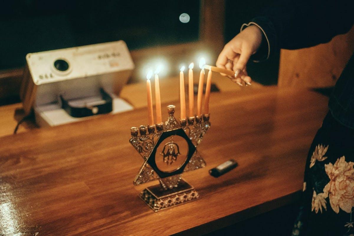 Hannukah candles menorah