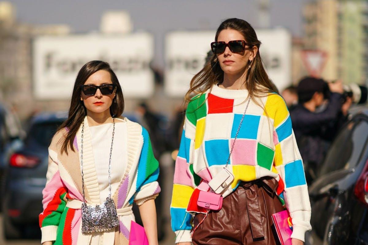 Street style of colour block cardigan