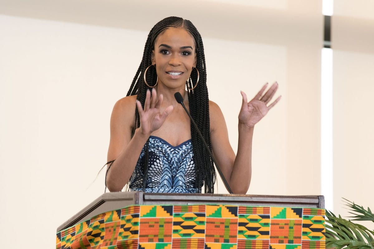 """Michelle Williams speaks onstage at """"The Diaspora Dialogues"""" International Women Of Power Luncheon at Marriott Hotel Marina Del Rey on March 2, 2018 in Marina del Rey, California. (Photo by Earl Gibson III/Getty Images)"""