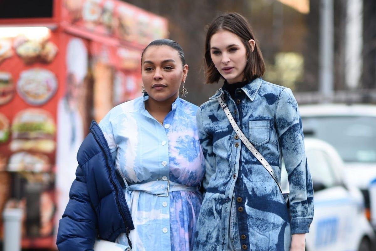 Street stylers wearing denim