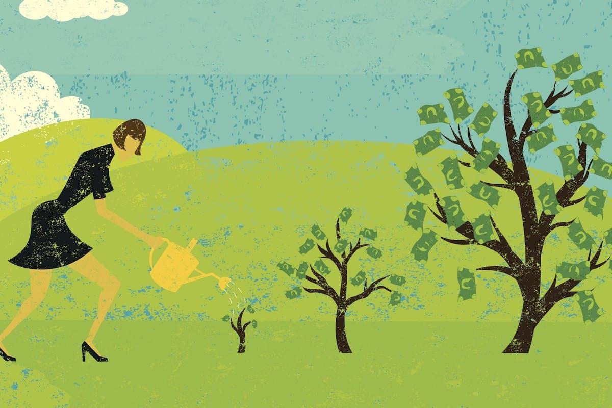Woman watering money trees