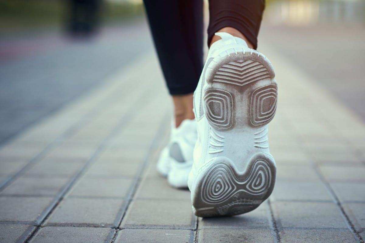 Woman walking in trainers