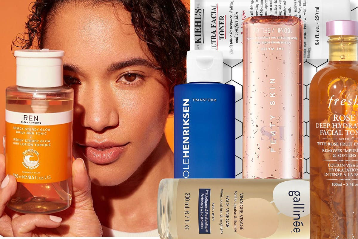 Collage of woman holding a REN face toner and different face toners