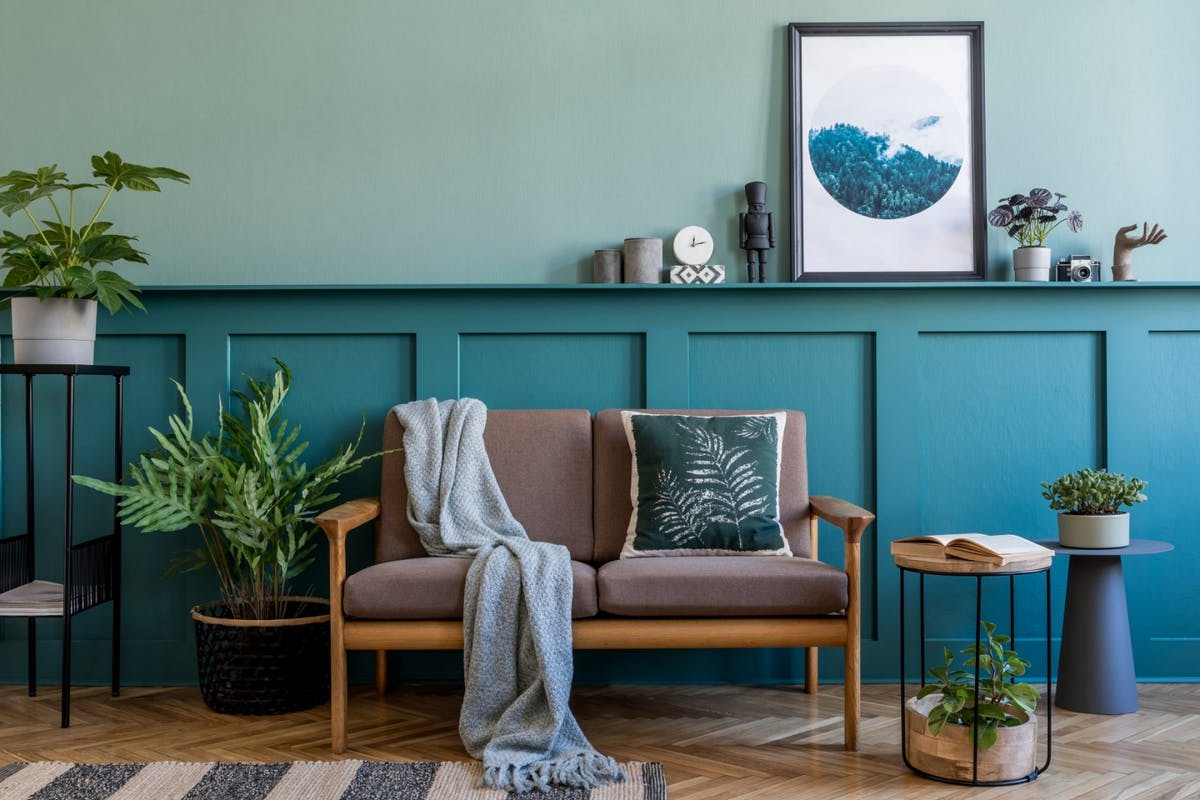 Artificial plants being used to decorate a living room