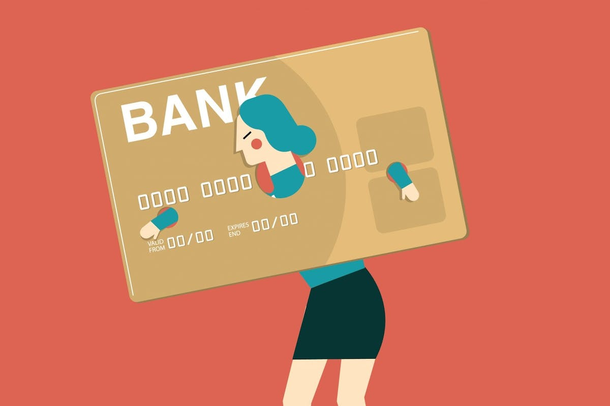 Woman bogged down with credit card