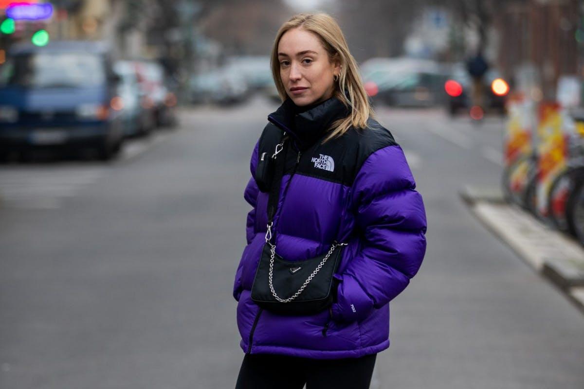 Street styler wearing puffer jacket