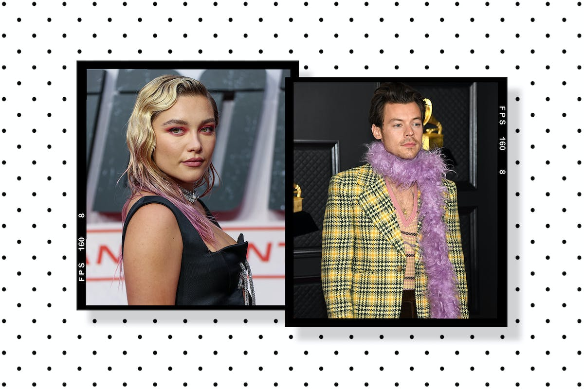 Florence Pugh and Harry Styles collage