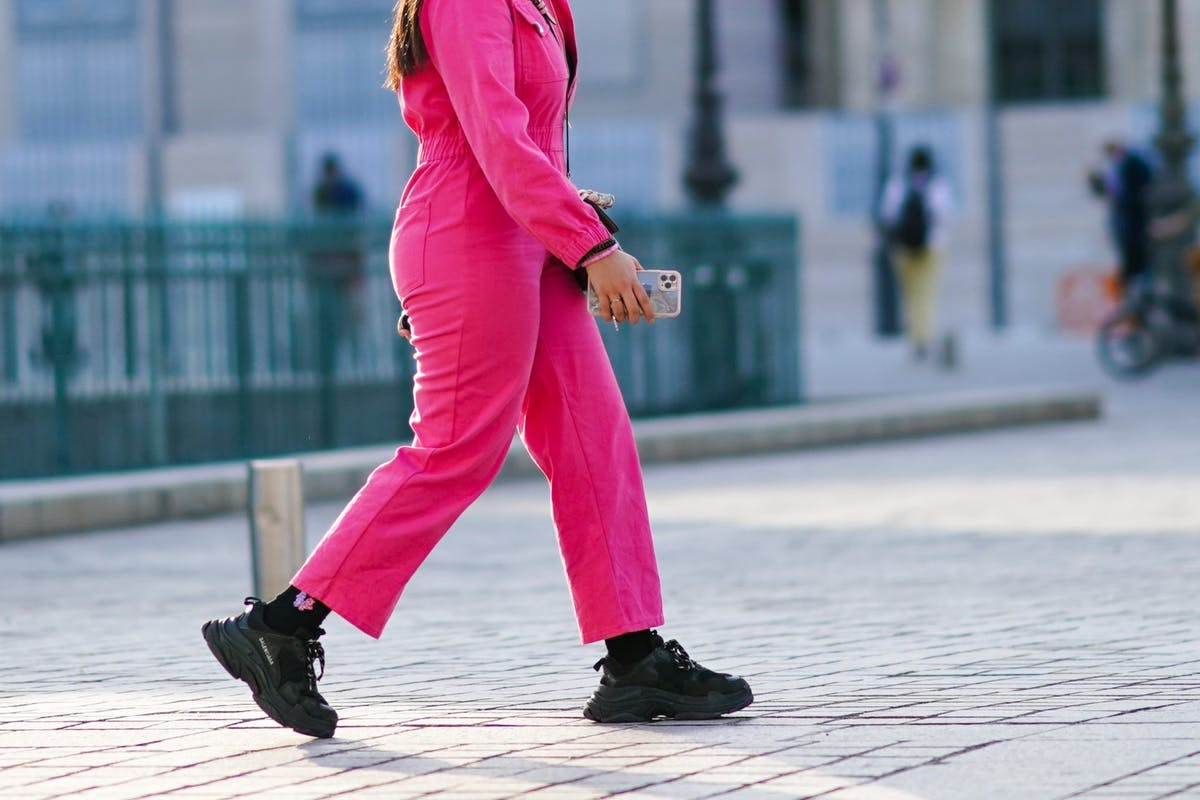 Street style wearing Balenciaga trainers
