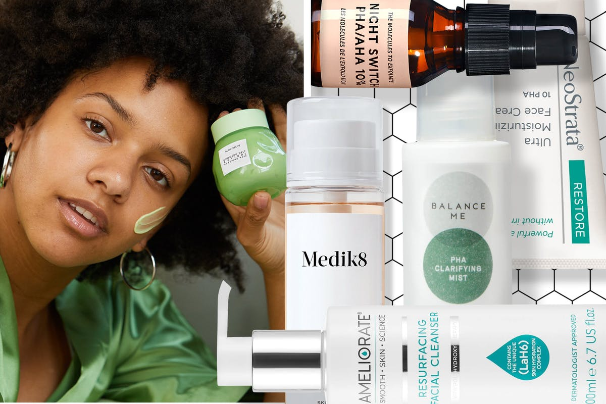 A collage of different PHA skincare products, including a woman posing with a face mask.