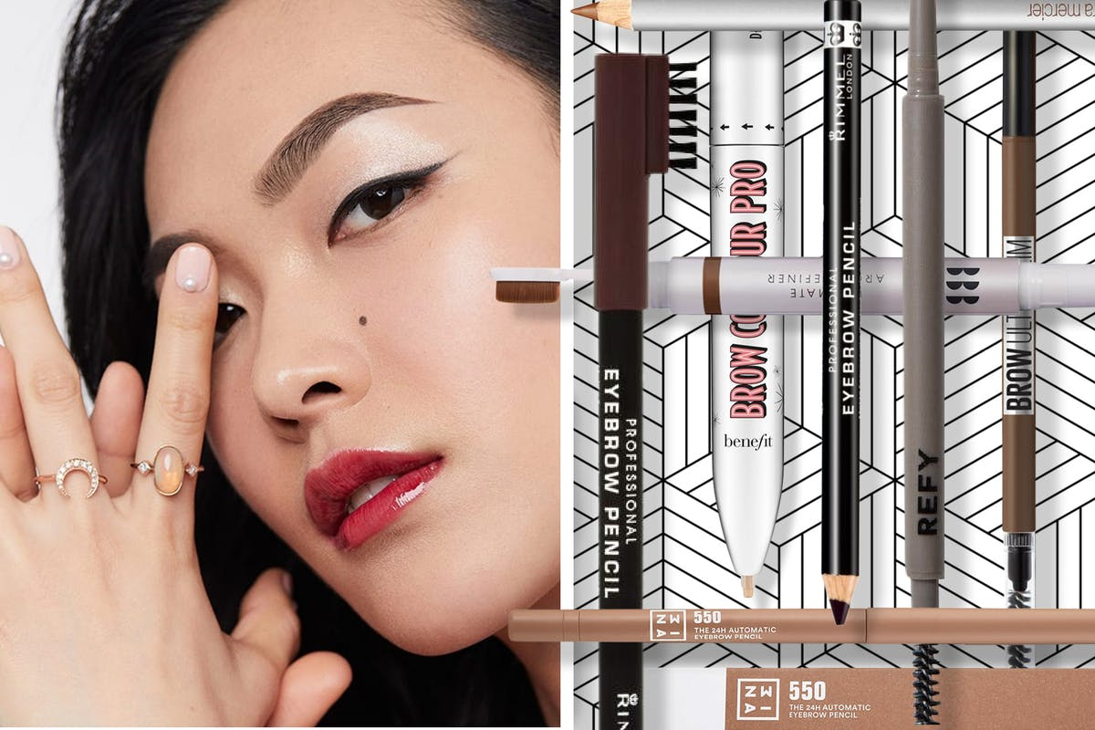 A collage of eyebrow pencils, including a headshot of a woman wearing make-up