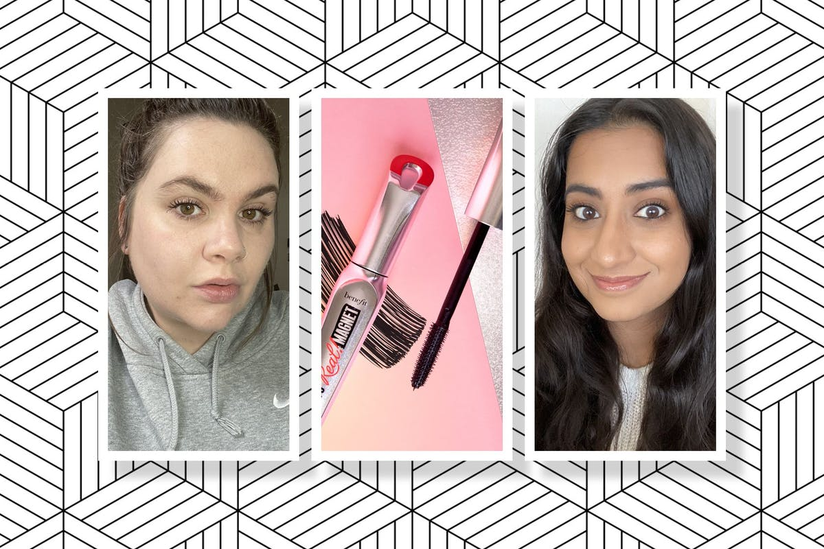 Collage of Benefit's They're Real Magnetic Mascara and Hanna and Lucy wearing the mascara