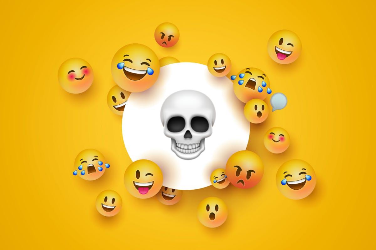 Social media emojis, including the skull and laugh-cry emoji