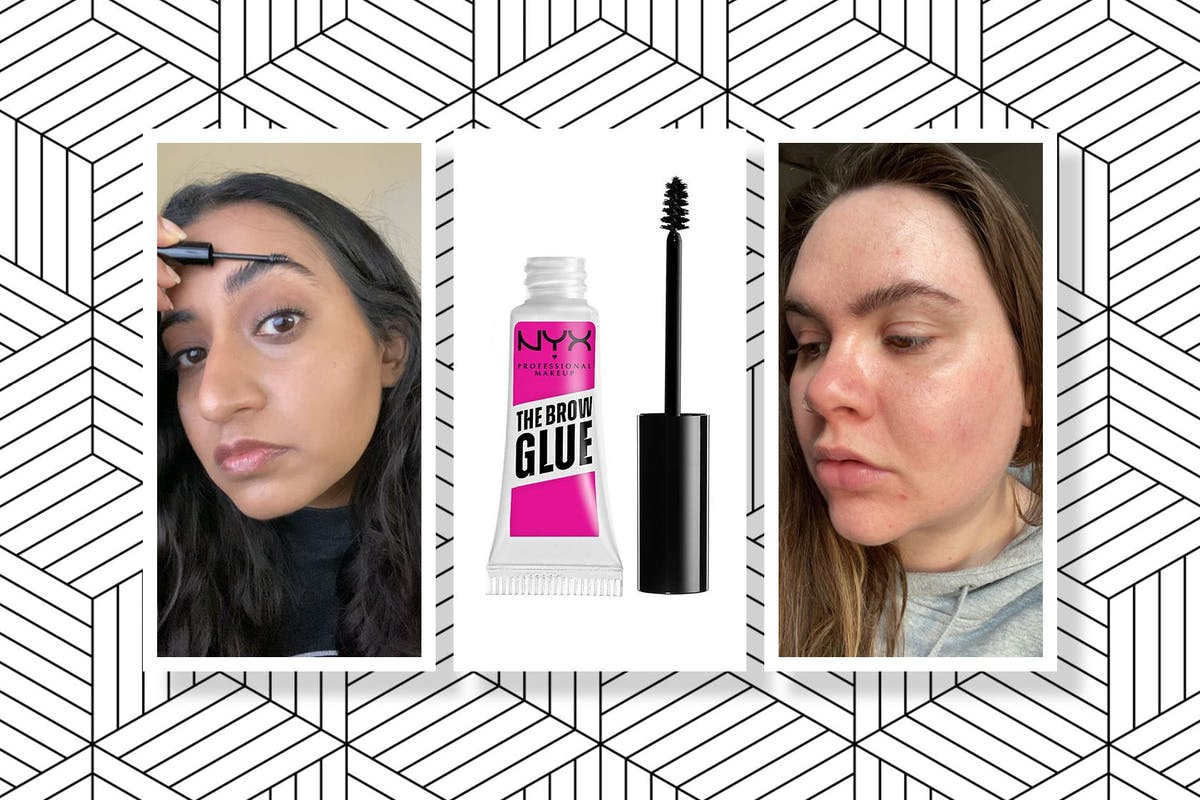 Collage of NYX Professional's Makeup Brow Glue and Hanna and Lucy wearing the product