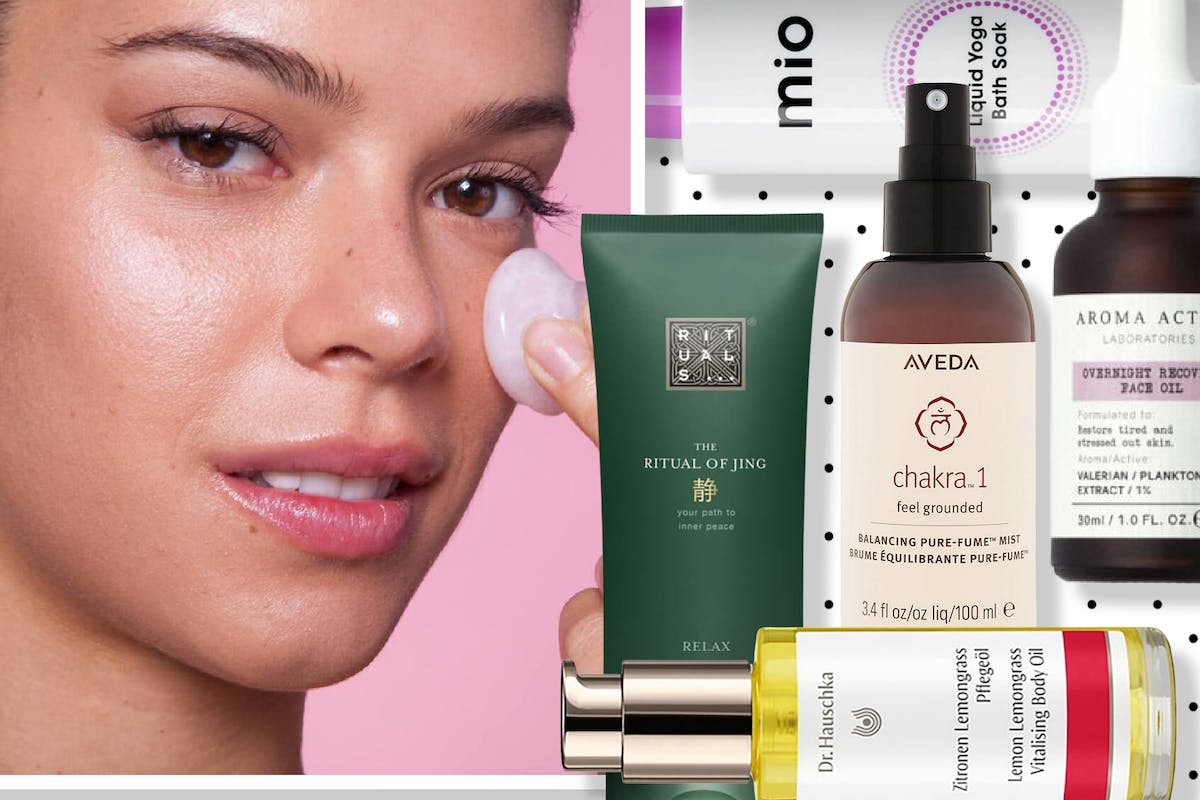 Collage of woman using facial massage tool alongside other stress-relieving beauty products