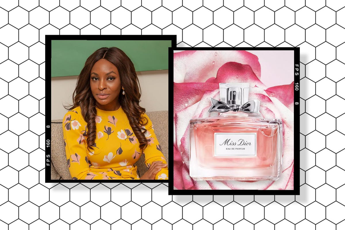 A collage of Charis Udeh and Dior's Miss Dior Eau de Parfum