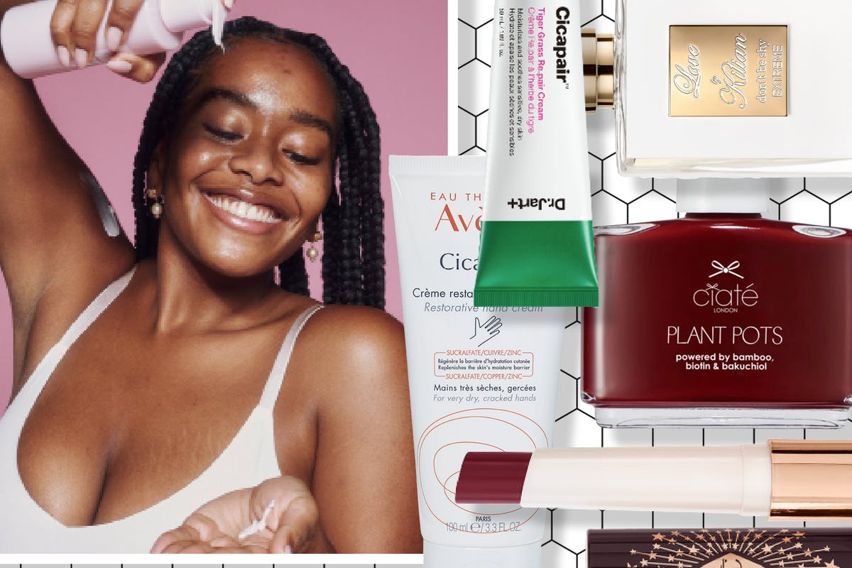 Collage of beauty products that launched in February and a woman pouring body lotion into her hand
