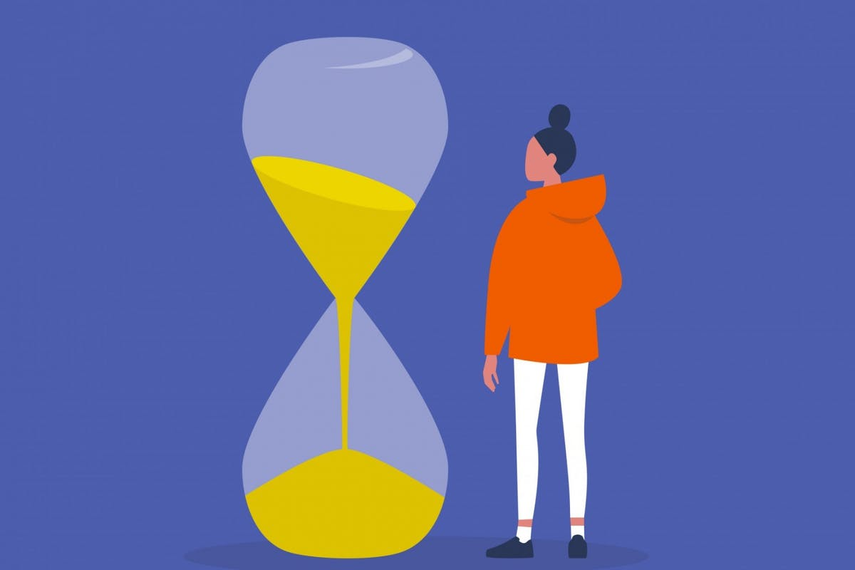 Woman counting down time
