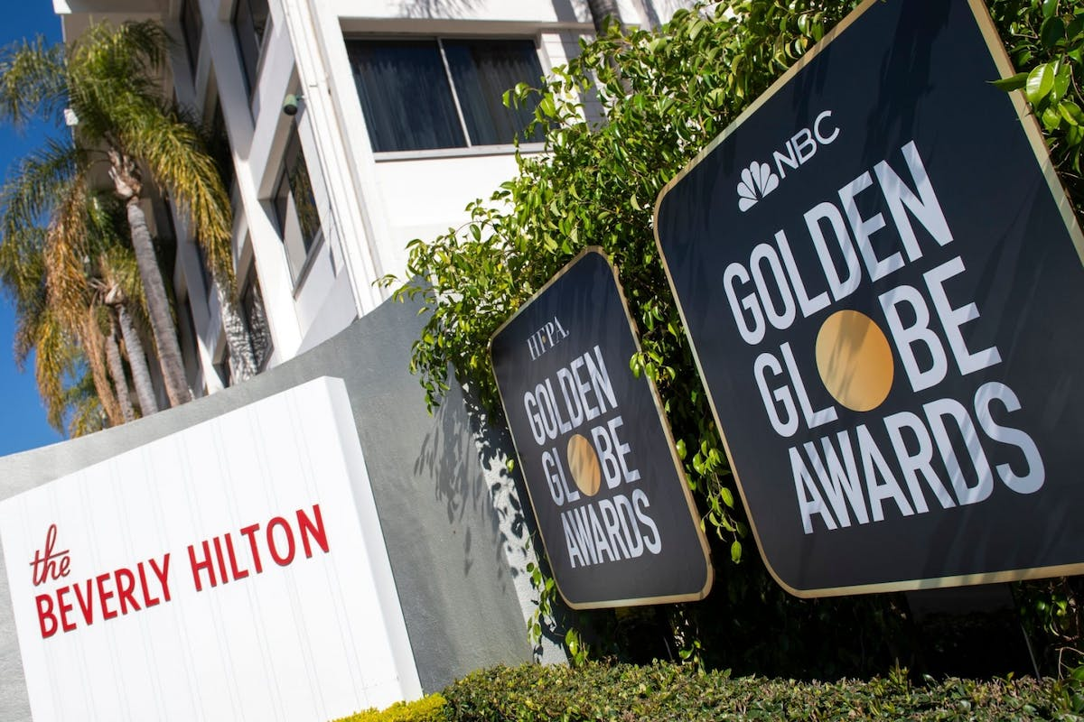 A backdrop for journalists at the 2021 Golden Globes awards in Los Angeles