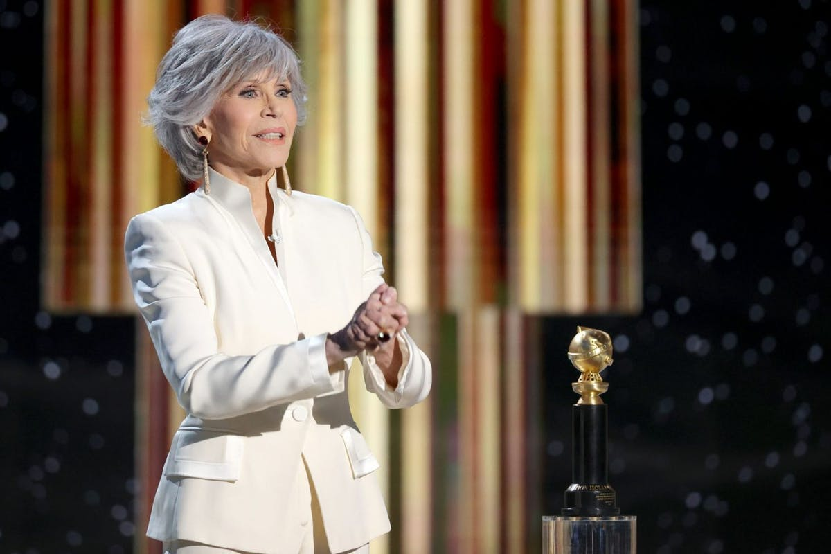 Jane Fonda accepts the Cecil B. DeMille Award onstage at the 78th Annual Golden Globe Awards held at The Beverly Hilton and broadcast on February 28, 2021 in Beverly Hills, California. -- (Photo by Rich Polk/NBCUniversal/NBCU Photo Bank via Getty Images)