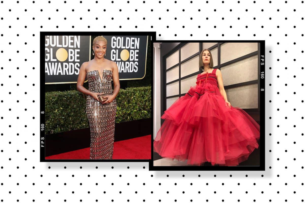 Tiffany Haddish and Rosamund Pike at the 2021 Golden Globes