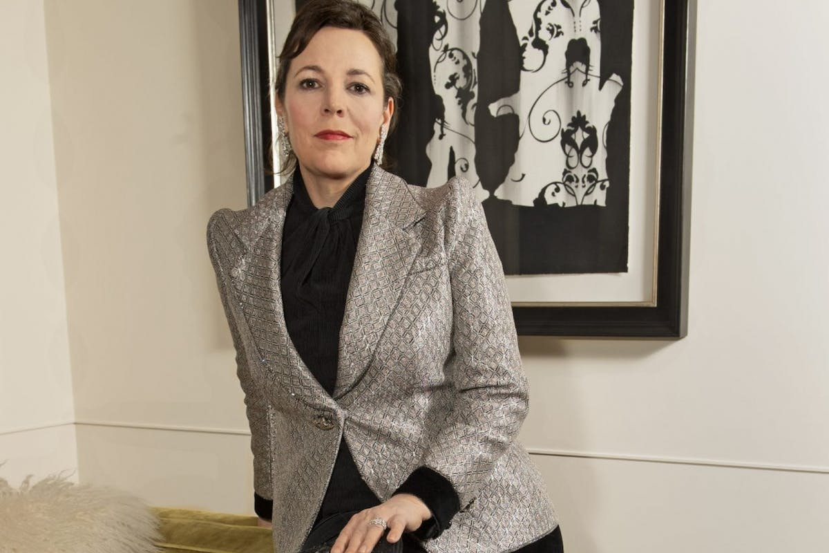 Olivia Colman, wearing Armani Prive, virtually attends the 78th Golden Globe Awards from the Rosewood London on February 28, 2021 in London, England. (Photo by David M. Benett/Dave Benett/Getty Images for Armani)