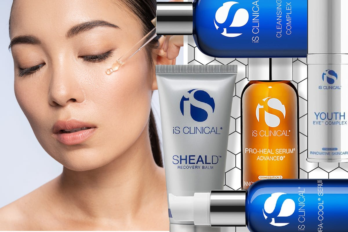 Collage of woman applying skincare and a selection of iS Clinical skincare products