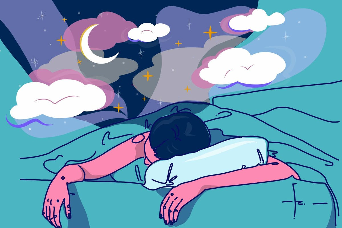 Illustration of a woman sleeping and dreaming