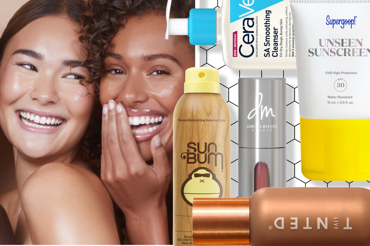 A collage of two women smiling and different American beauty products
