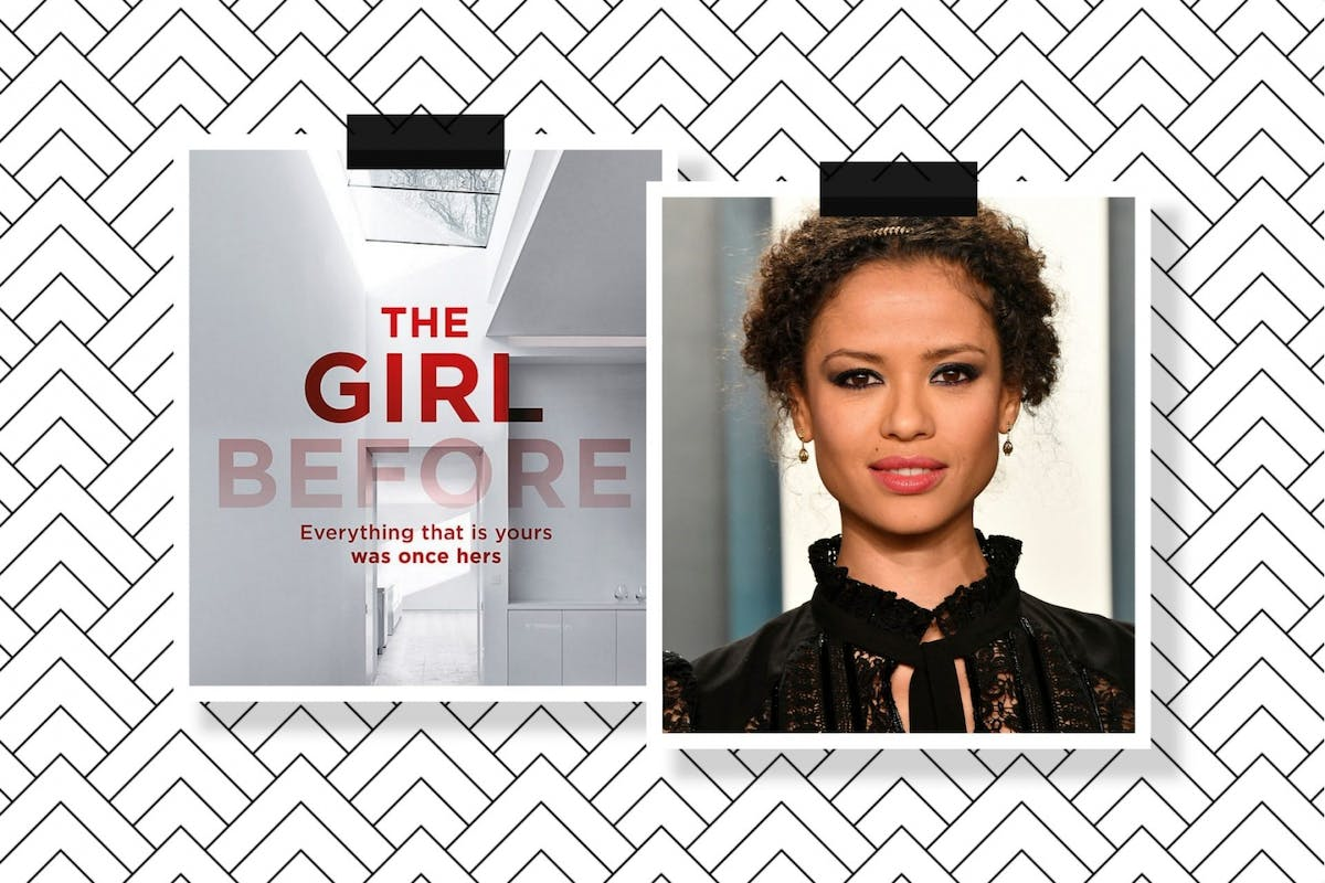 A collage of The Girl Before book cover and a picture of Gugu Mbatha-Raw.