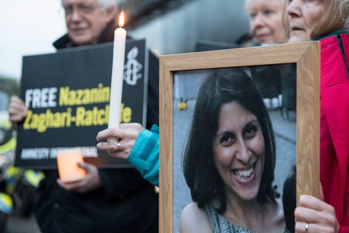 Nazanin Zhagari-Ratcliffe protestors in 2017