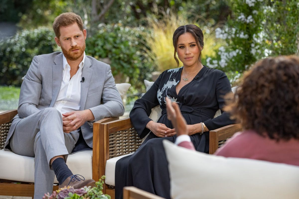 Oprah Winfrey interviews Prince Harry and Meghan Markle on A CBS Primetime Special premiering on CBS on March 7, 2021. (Photo by Harpo Productions/Joe Pugliese via Getty Images)