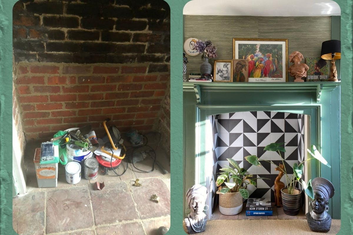 Tiled, green fireplace renovation