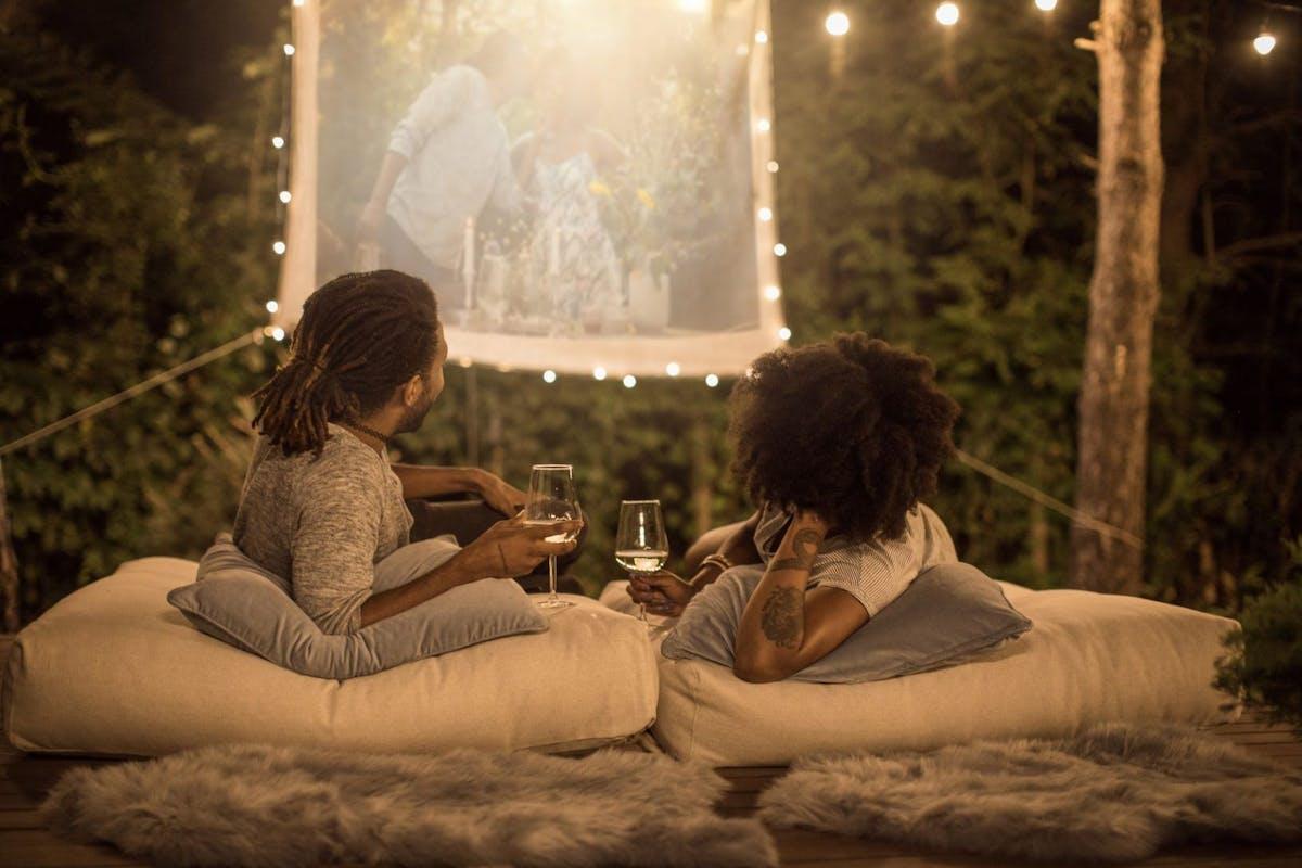 Couple socialising outside