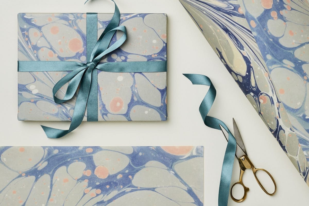 Pink and blue marbled paper