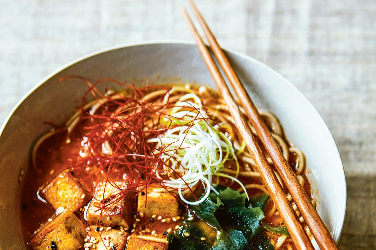 tofu soba noodle soup recipe with spicy miso, ginger and teriyaki