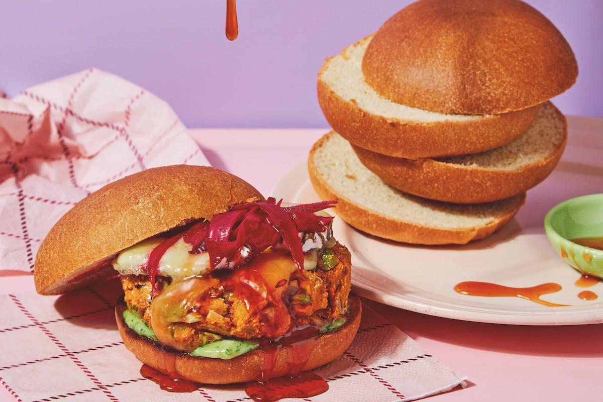 veggie burger recipe with broad bean and sweet potato